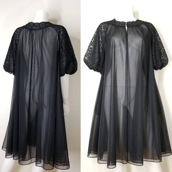 Vintage 60s Black Nightgown & Peignoir Lingerie S… - image 5