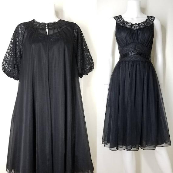Vintage 60s Triple Chiffon Nightgown Peignoir Ling