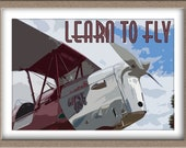 Printable Art - Vintage Style quot Learn to Fly quot Poster - Instant Download
