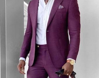 Men Purple Suits 2 Piece Slim Slim Suit fit Formal Coat Pant Prom Suit