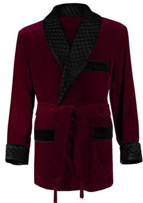 Smoking Jacket Men Luxury Maroon Elegant Quilted Robe New Arrival Velvet Long Evening Wear Dinner Coat