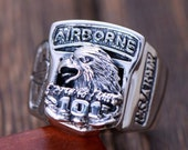 Biker Men Women Ring, Retro S925 Silver Rings, Domineering Fashion 101 Airborne Division Eagle Ring for Lovers,Gothic Punk Rock Jewelry Ring