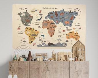 Animal World Map Tapestry - Organic Cotton Fabric Tapestry - World Map Wall Tapestry - World Map Gift - Kid Room Tapestry - World Map Gift