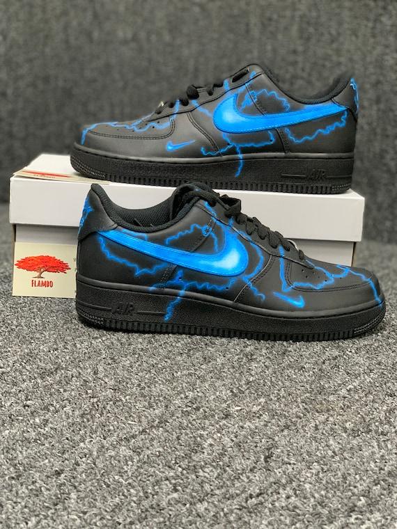 Nike Air Force 1 Custom Thunder Lightning Available Etsy