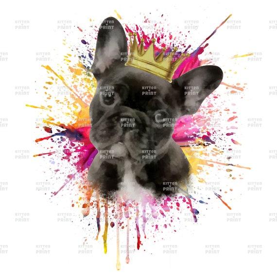 French Bulldog With Crown French Bulldog Portrait French Etsy