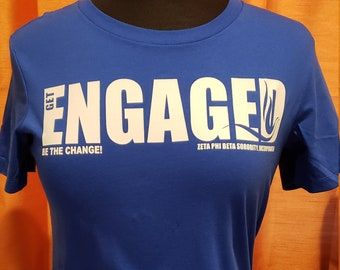 Get Engaged Royal Blue and White Relaxed  Jersey Fit Tee