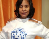 White Cold Shoulder Embroidered Sorority Shield Top