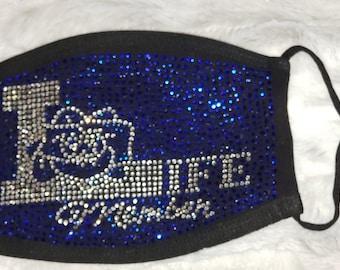 Life Member ΖΦΒ Royal Blue and Diamond Rhinestone Mask