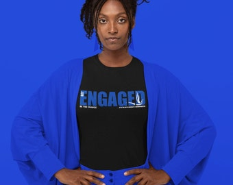 Get Engaged Black Relaxed Jersey Fit Tee  | Zeta | RB & White| 2020 | Zetas Get Engaged