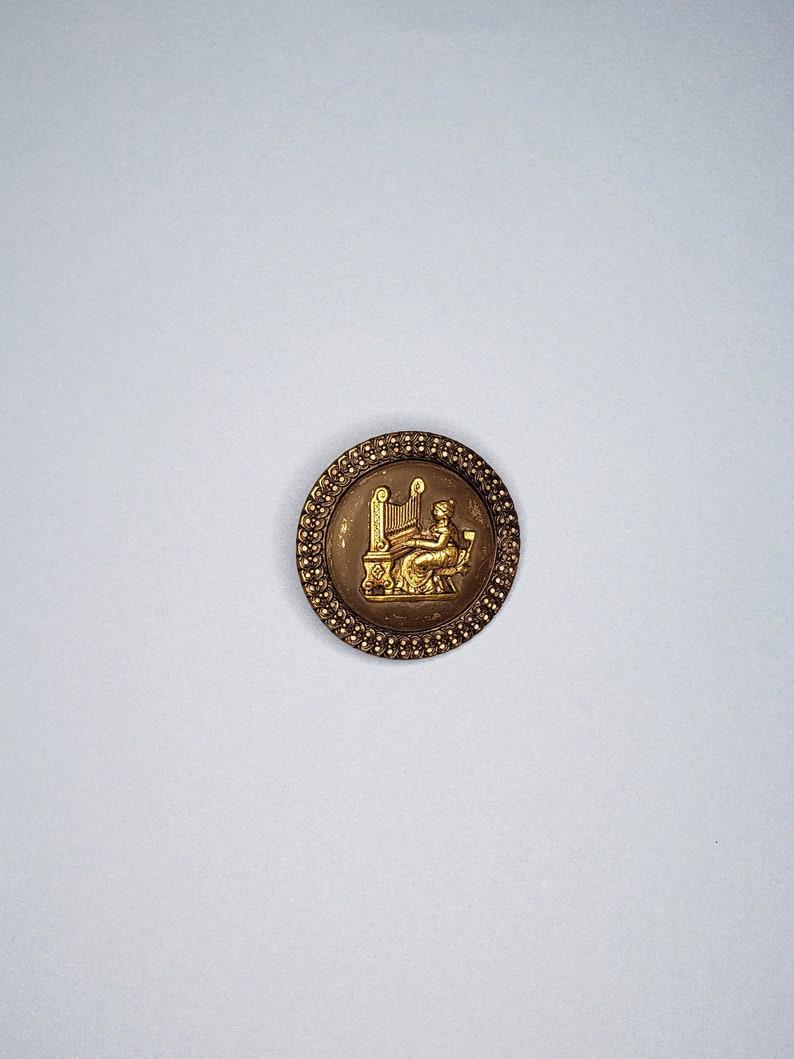 XXL Saint Cecilia Button Stamped Brass ~ Antique ~
