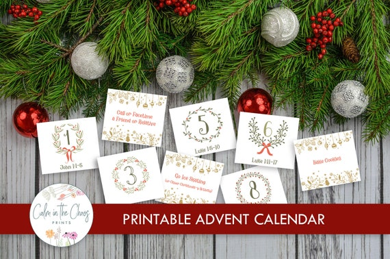 Printable Advent Calendar   Countdown to Christmas with 25
