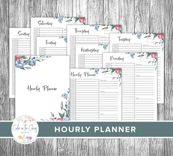Hourly Planner  Daily Planner Printable   Family Organizer