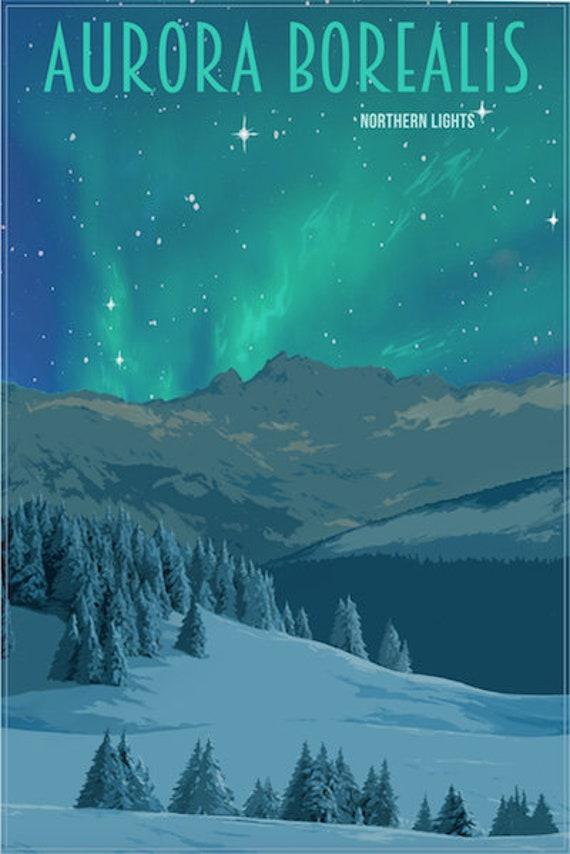 Northern Lights Poster Aurora Borealis