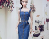 CUSTOM SIZE Doll Dress Doll Clothes Doll Long Denim Skirt for Blythe OB22 OB24 Azone Mico Poppy Parker Momoko Barbie Fashion Royalty FR2