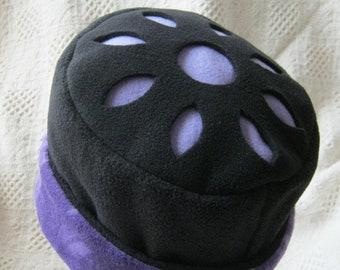 Fleece Hat, Purple & Black with Cut-out Design