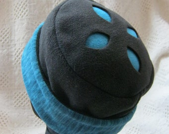 Fleece Hat,  Teal & Black with Cut-out Design