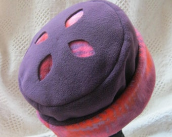 Fleece Hat, Plum & Bright Print with Cut-out Design