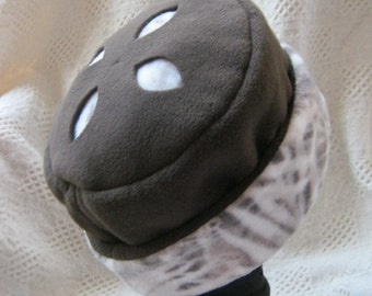 Fleece Hat, Brown with Cut-out Design