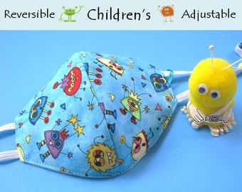 Children's Face Mask, Monsters, Reversible, Adjustable, Cotton