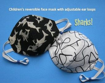 Children's Face Mask, Sharks, Reversible, Adjustable, Cotton, Face Covering