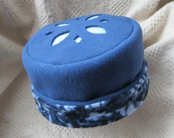 Fleece Hat, Blue with Cut-out Design