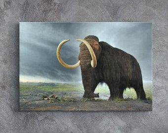 CANVAS Painting of Wooly Mammoths by Wilhelm Kuhnert Art print POSTER