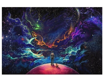 Universe Space Purple Fantasy Photo Poster Canvas Pictures Space Moon Planet