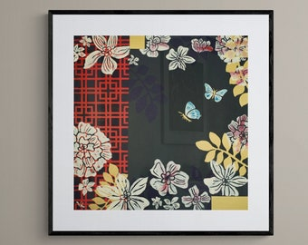 Chinoiserie Butterfly and Flowers Framed Print Flower Wall Art Vintage Living Room Decor Painting Bedroom Decor 12x16 18x24 24x32