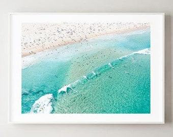 Aerial Beach Print , Framed Wall Art , Bondi Beach Home Decor , Australia Art , Surf Print, Landscape Photography , Boho , 12x16 18x24 24x32