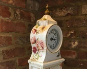 Clock Mantle French Flowers Scrip Vintage Shabby Chic Bespoke Upcycled