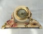 Clock Mantle Pivot Flowers Vintage Shabby Chic Bespoke Upcycled