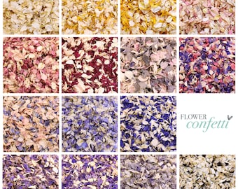 1 Litre (8-10 handfuls) Biodegradable Flower Confetti | Choose Your Colours | Perfect for Weddings, Baby Showers & Celebrations