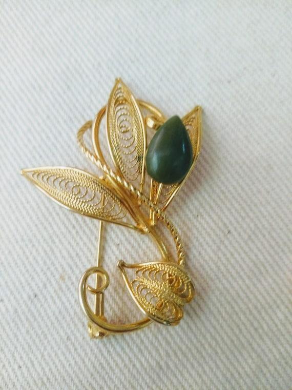 Vintage Jade Filigree Brooch early 1940s