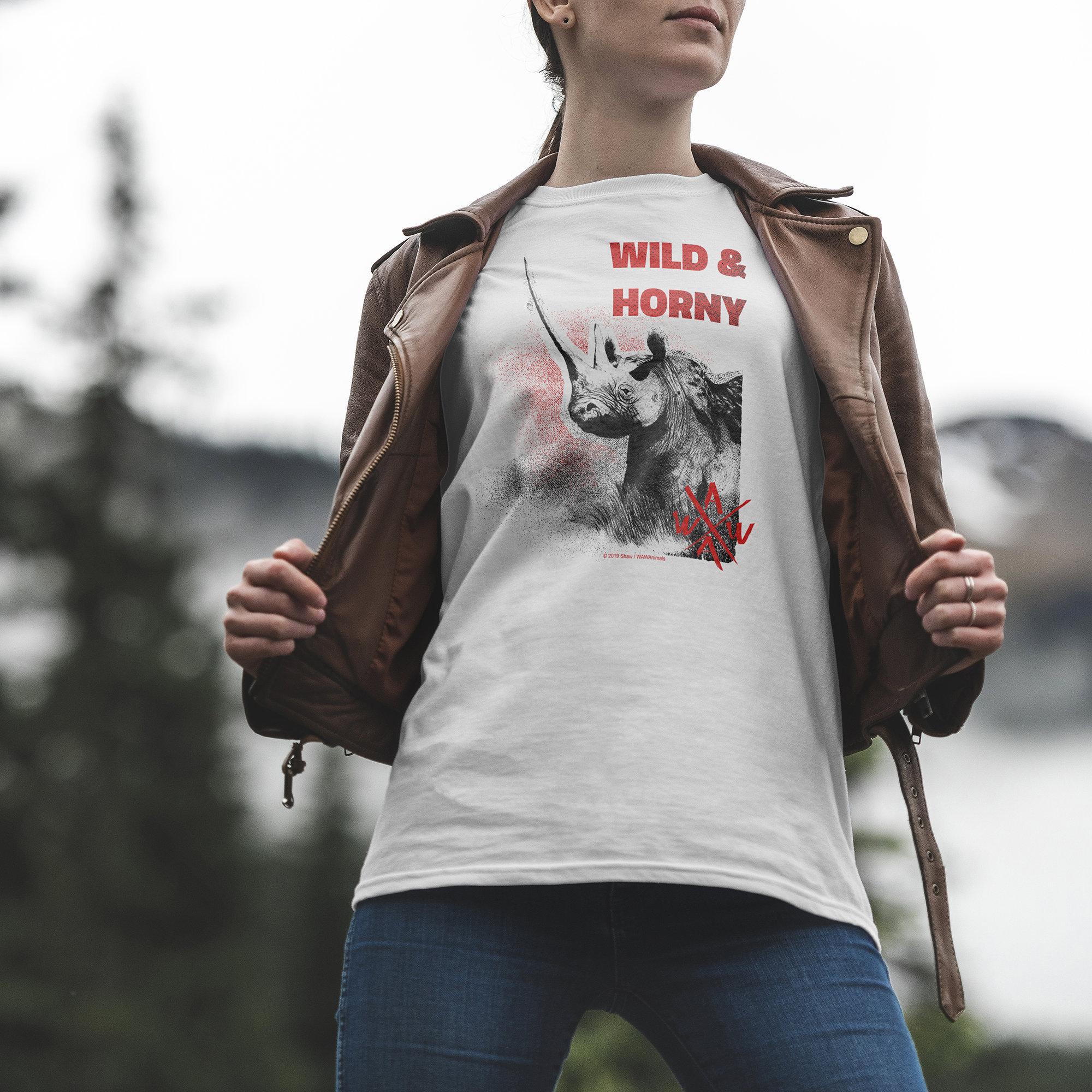 Wild Animal T-shirt - Wild & Horny Rhino Unisex Tshirt
