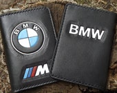 Handmade Leather passport cover document holder cover organizer with carved emdossed BMW emblem for drivers documentd