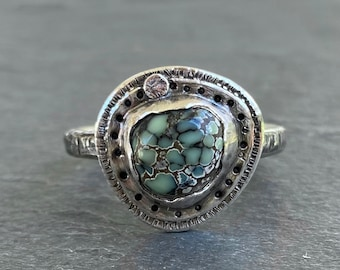 Multi-Color Poseidon Turquoise Statement Ring Handstamped 925 Size 7.5