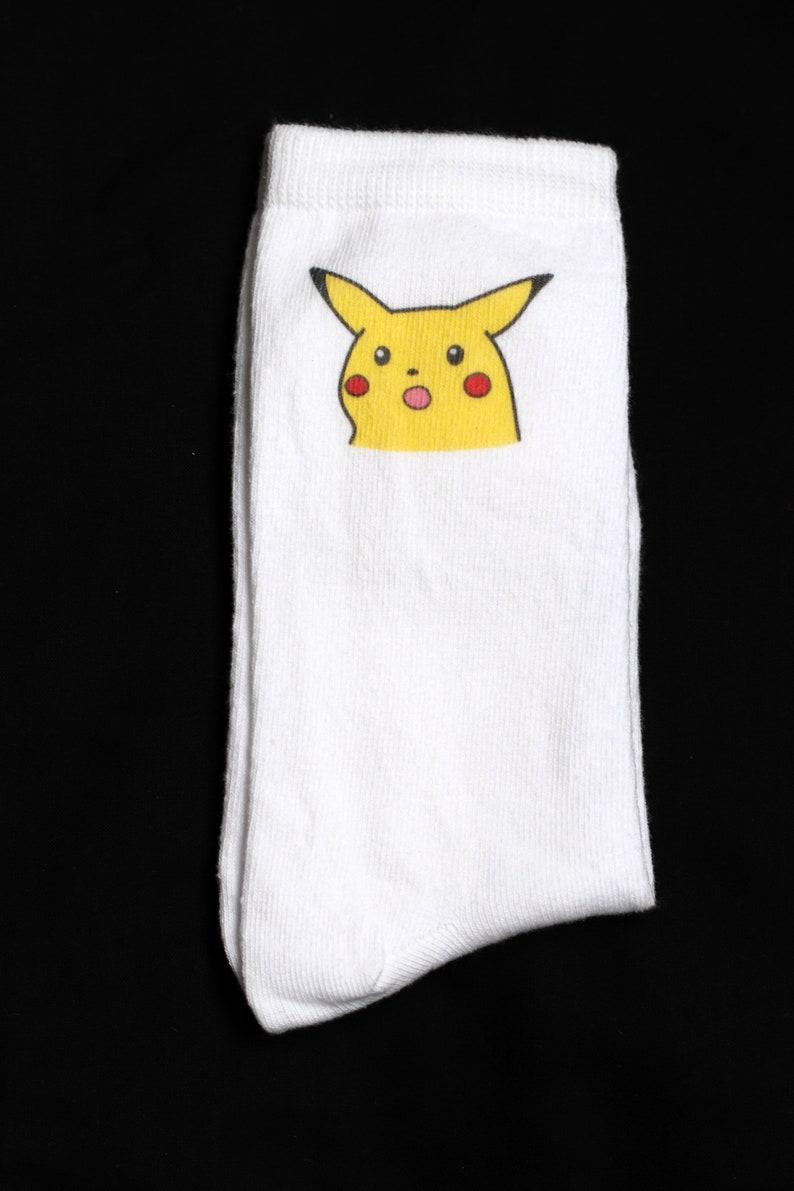 Surprised Pikachu White Cotton Socks