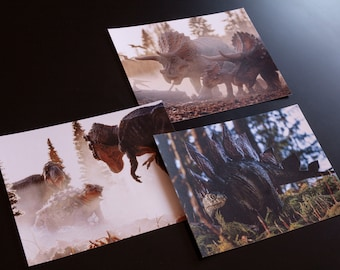 Set of 3 Dinosaur mini prints / postcards, herbivores