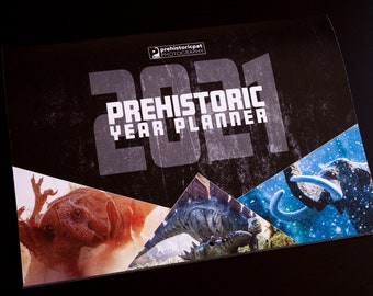 Prehistoric year planner, 2021 wall calendar with dinosaurs and other prehistoric beasts