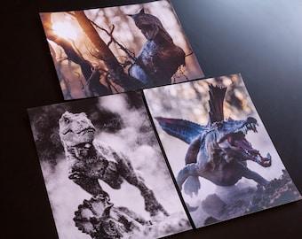 Set of 3 Dinosaur mini prints / postcards