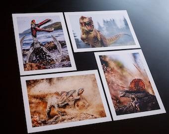 Set of 4 prehistoric prints / postcards