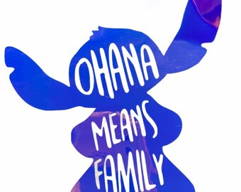 Ohana Means Family Stitch Iridescent Laptop, Decor, or Car Decal