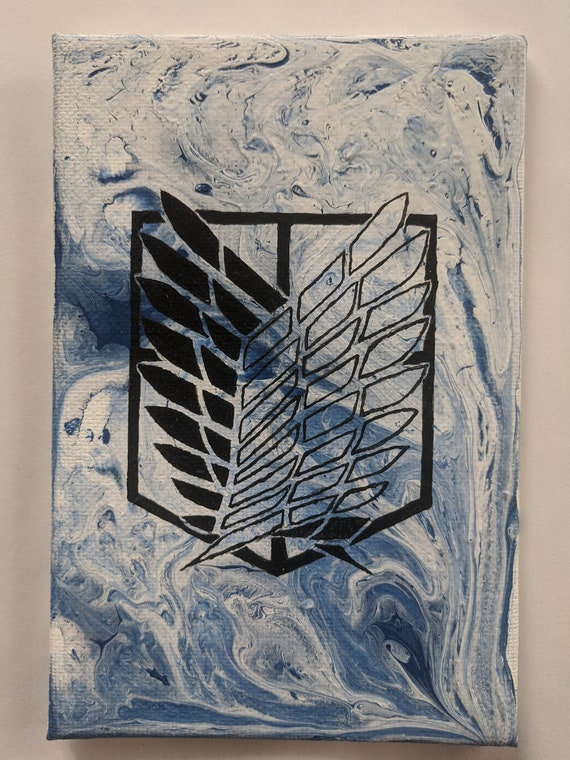 Attack On Titan Survey Corps Symbol Silhouette Flow Art Etsy