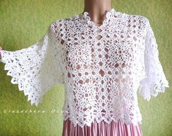 Vintage style cotton crochet blouse / Handmade lace top / Boho crochet blouse / Oversize crochet blouse