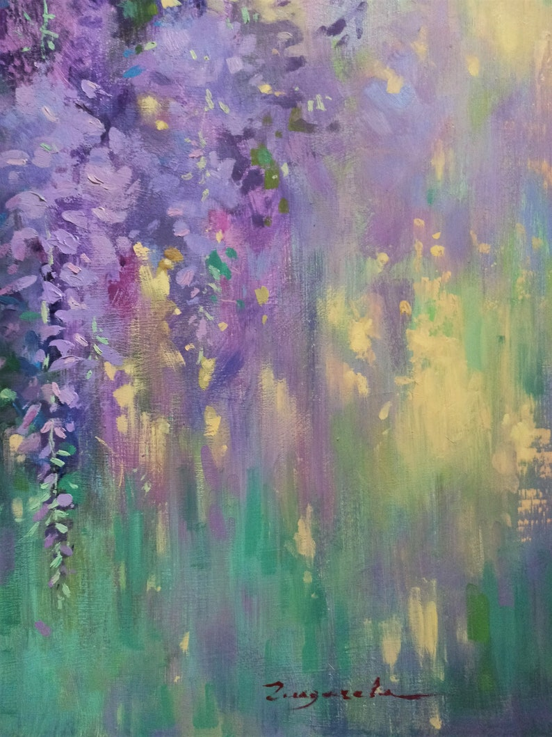Impressionistic oil painting  Wisteria    Floral motifes Oil art  Oil on canvas  Modern painting  fine art  Acrylic painting