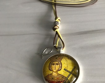 Assortment is Saint Pendants including St  Elizabeth the New Martyr/ St Xenia/ St Helen/ Car Icon/ Icon, Orthodox Gift