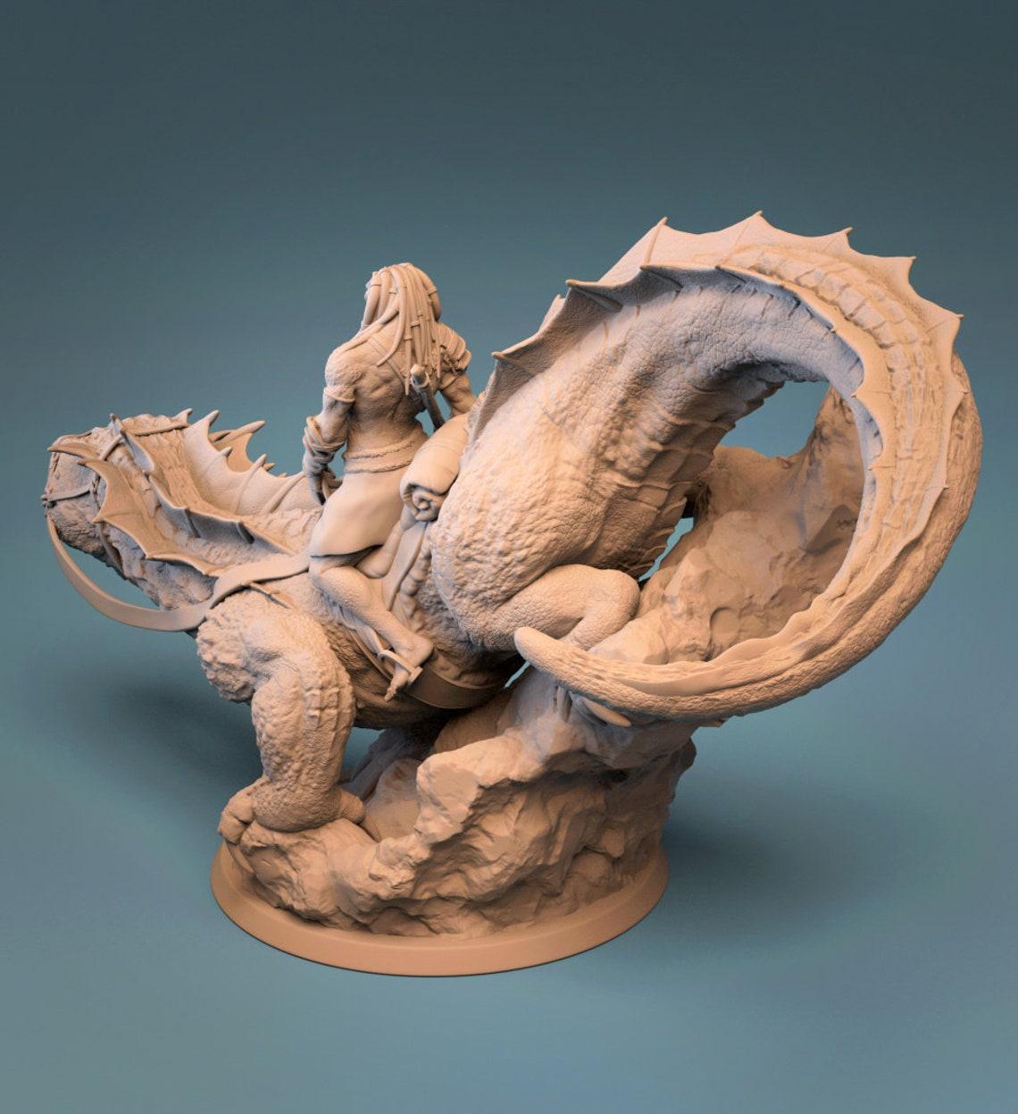 Giant Lizard High Detail Miniatuur Hars 3D-geprinte | Etsy