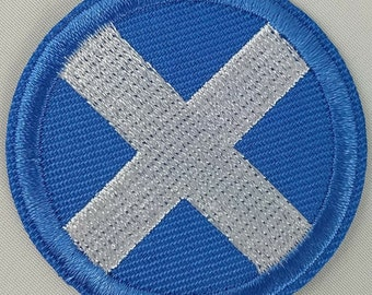 PROUD TO BE SCOTTISH SALTIRE ST ANDREW SCOTLAND CROSS BADGE IRON SEW ON PATCH