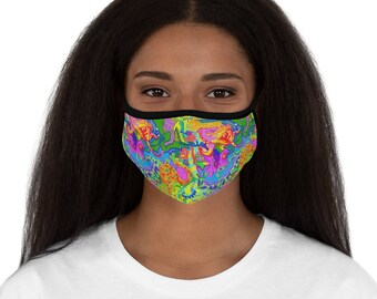 Trippy Psychedelic all over print mask, that is so weird, heads will turn and people will have fun finding all the hidden creatures