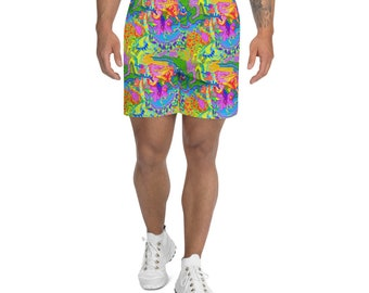 Trippy Psychedelic all over print shorts, that are so weird, heads will turn and people will have fun finding all the hidden creatures